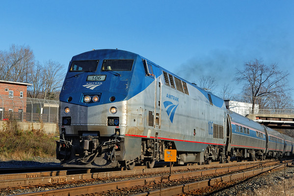 Finally, the Vermonter comes off the siding onto the main and heads west out of Palmer, MA. 11/14/2012 - 598C3825dK