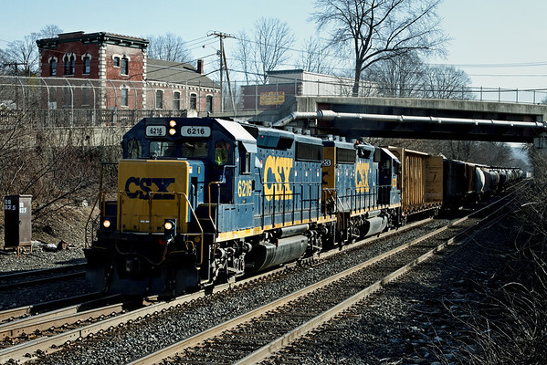 CSX Springfield local heads west out of the yard at MP83, Pamer, MA. 1/16/12 - IMG_3228dK