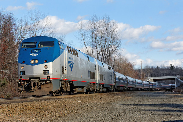 Surprise - caught me with a long lens on... Amtrak 449 with two units and ten cars at MP57, Charlton, MA. 11-26-2012 - 598C4067dK