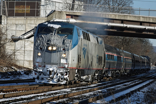 """Amtrak's """"Vermonter"""", with a layer of ice and snow on the nose, heads west out of MP83, Palmer, MA on the CSX Boston Line. 1/20/12 - IMG_3289dK"""
