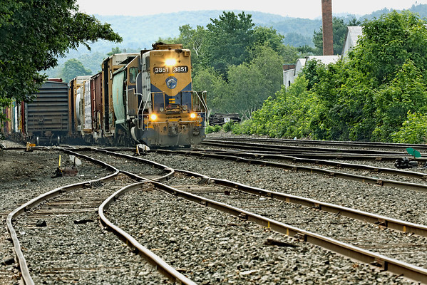 NECR 3851 switching in the CSX yard at MP83, Palmer, MA on a hazy hot summer morning. 7/1/2012 - 598C9908dK