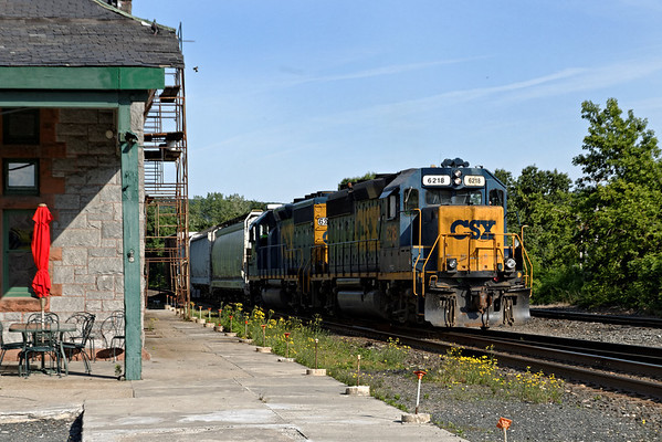 In early morning light, the CSX Springfield local train rolls past the station and into the yard at MP83, Palmer, MA on the CSX Boston Line. 6/1/2012 - 598C8726dK
