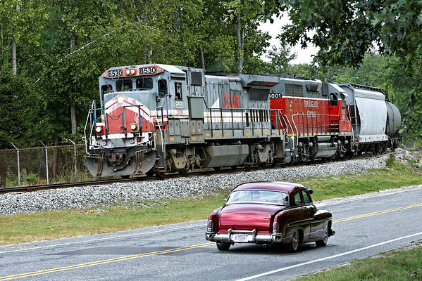 NECR (CSOR) 8530 and NECR 4001 head South with three cars just past the Rte 32 bridge in Monson, MA as a sweet 1951 Mercury (thanks Tad!) heads North to Palmer. 9/2/2012 - 598C0688dK