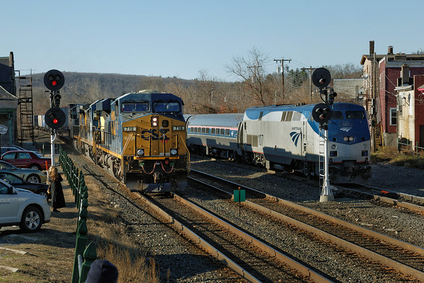 With Amtrak's Vermonter waiting on the yard lead, a late Q022 rolls through MP83, Palmer, MA on the CSX Boston Line. 11/14/2012 - 598C3794dK