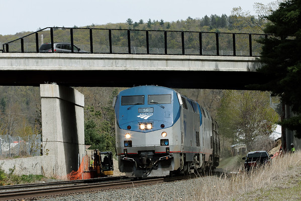 A different kind of over/under - Amtrak train 449 heads west under the new bridge construction at rtes 20 & 67 in Palmer, MA. 4/30/2012 - IMG_4027dK