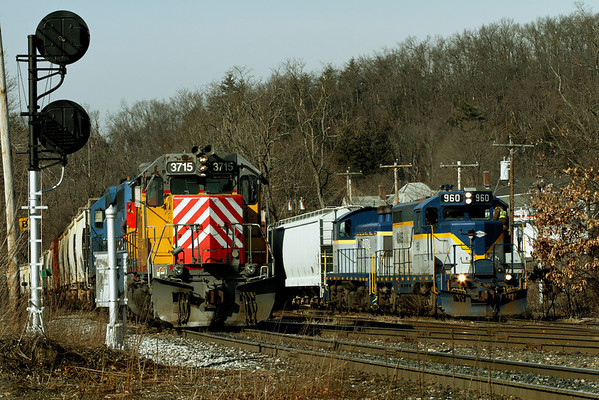 Mass Central units 960 and 2100 join a colorful NECR consist for a group portrait at MP83, Palmer, MA. 1/31/12 - MG_3453dK
