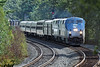 Amtrak 449 rolls past the rail train at MP60, Spencer, MA. 9/5/2012 - 598C0734dK