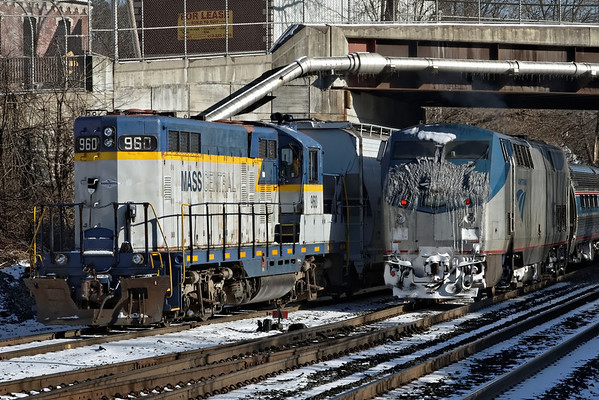 """Twofer - Mass Central 960 eases past Amtrak's """"Vermonter"""" which is waiting to head west from MP83, Palmer, MA. 1/20/12 - IMG_3259dK"""