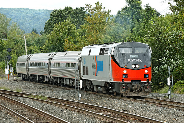 """With Amtrak 156 Heritage on the nose, the """"Vermonter"""" pulls into the CSX yard at MP83, Palmer, MA. 9/8/2012 - 598C0901dK"""