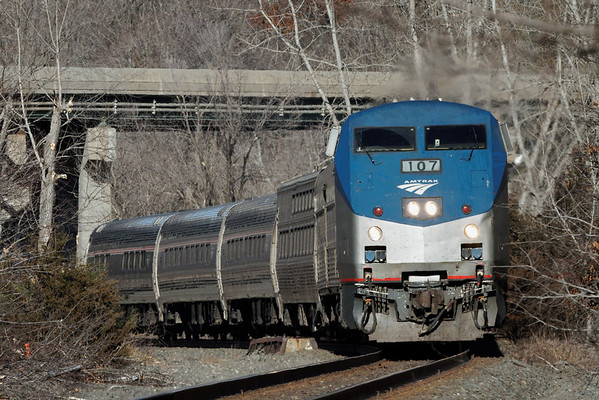 Amtrak 449 coming under the Mass Pike bridge just east of MP79, Palmer, MA on the CSX Boston Line. 2/6/12 - IMG_3518dK