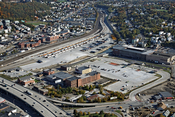 Aerial view, looking east, of the newly expanded CSX yard in Worcester, MA. 10/17/2012 - 598C2934dK