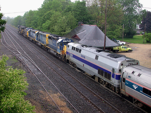 Another one from the Way-Back machine - an interesting consist passes the old (now gone) B&A depot at MP64 in East Brookfield, MA. 7/8/2003 - no 398