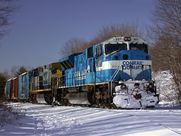 From the Way-Back machine - A Conrail 80MAC whiteface in the hole at MP57 in Charlton, MA.<br /> 12/27/2002 - no. 358