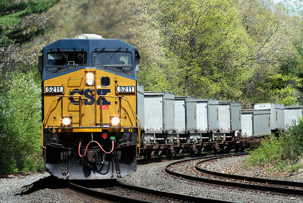 A string of UPS trailers roll through the early Spring foliage at CSX MP60, Spencer, MA on April 12, 2011 - IMG_4205dK