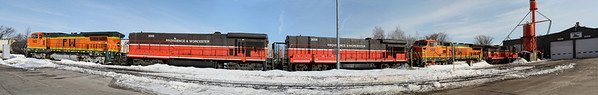 Colorful lashup in the Providence & Worcester yards, Worcester, MA Feb. 11, 2011 - 11-02-11 no IMG_1332 pano_K