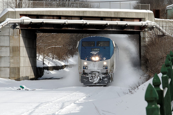 Amtrak train 449 blasts through the fresh snow in Palmer, MA - 11-01-21 - IMG_0885dK