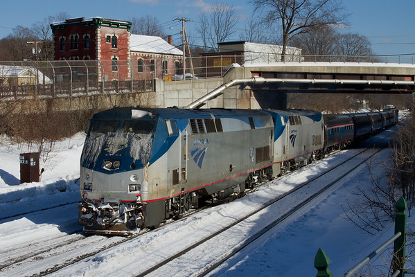 """Amtrak """"Vermonter"""" doubleheaded at MP83, Palmer, MA February 10, 2011 - 11-02-10 no 1289"""