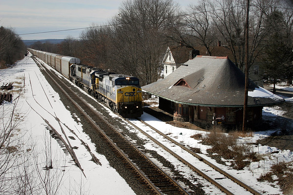 A brief visual tribute to a bit of New England railroad history lost forever, the East Brookfield, MA depot at MP64 on the CSX Boston Line, seen here on March 1, 2007.