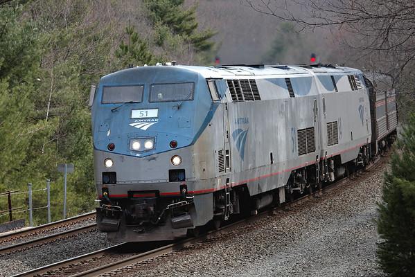 Amtrak rustbucket #51 leads train 449 through MP60, Spencer, MA, April 18, 2011 - IMG_2367dK