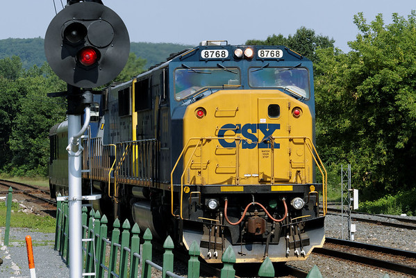 This one caught me by surprise with a telephoto lens on the camera - FRA inspection car eastbound at Palmer, MA, MP83 - 8/2/2011.