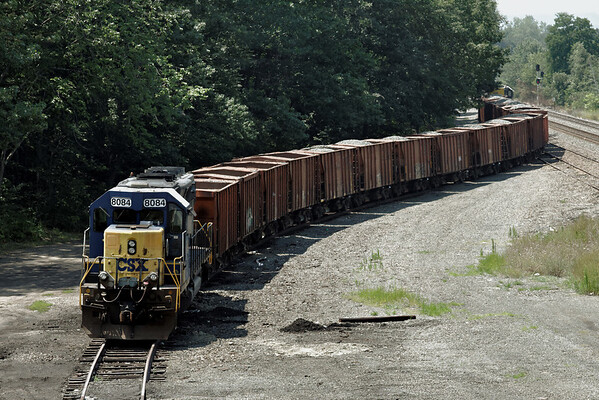 CSX stone train on the siding at MP64, East Brookfield, MA, on the CSX Boston Line - 8/2/2011.