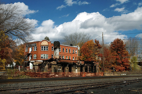 A brief visual tribute to a bit of New England railroad history lost forever, the East Brookfield, MA depot at MP64 on the CSX Boston Line, seen here in October, 2010 after vandals burned it to the ground a few weeks earlier.