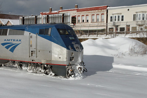 "Amtrak's ""Vermonter"" plowing snow in Palmer, MA - 11-01-21 - IMG_0910dK"