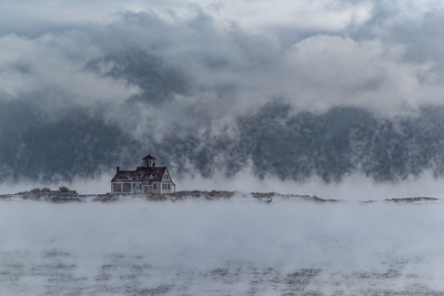 Wood Island Life Saving Station (close up) sea smoke
