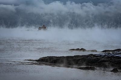 Wood Island Life Saving Station Sea Smoke (long view)