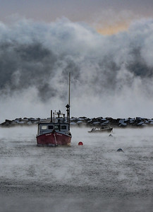 Two Boats Sea Smoke - Rye Harbor - SOLD. Other sizes available to order.