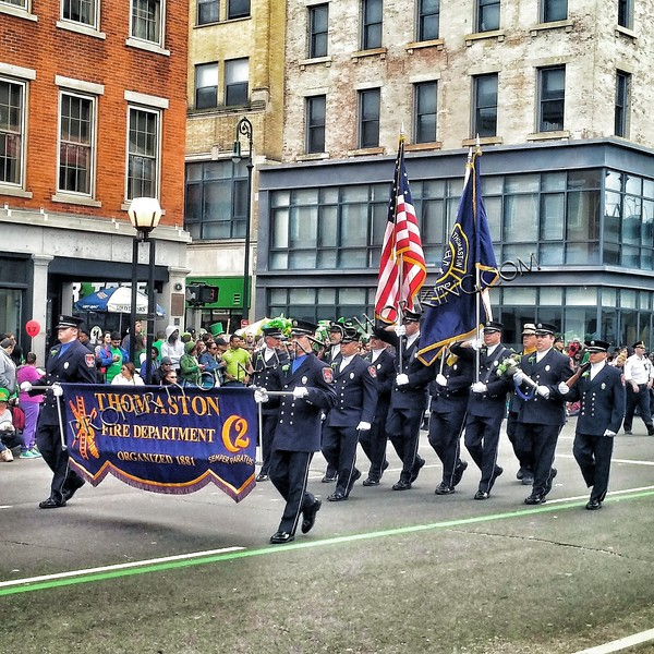 Thomaston Firefighters march in the New Haven  St. Patty's Day Parade