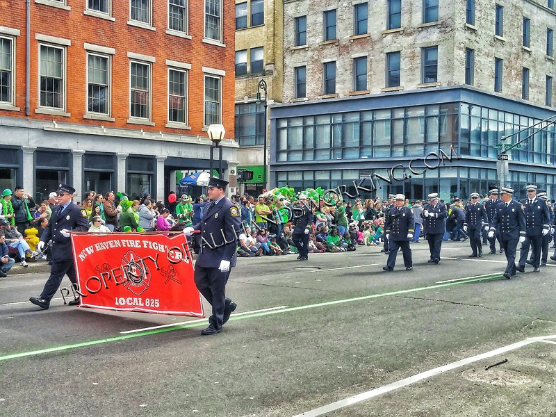 New Haven Firefighters march in the 2016 St. Patrick's Day Parade