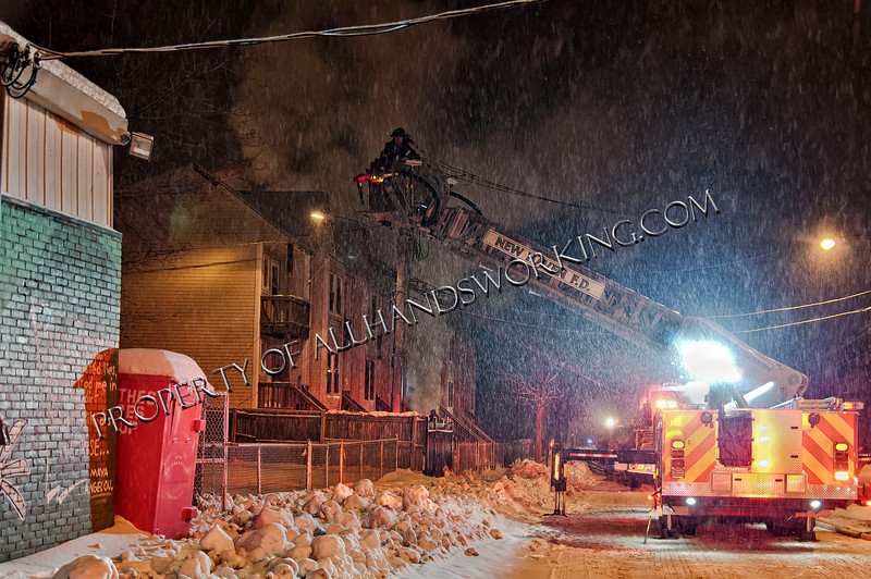 02/09/14 New Haven, CT - Box 606 New Haven Firefighters battled the elements and fire at the Henry Street condo complex. First arriving companies had heavy smoke and fire showing from the first floor MOR unit. A quick attack was able to bring the fire under control before it spread to the ajoining units and cockloft. The cause of the fire is under investigation.