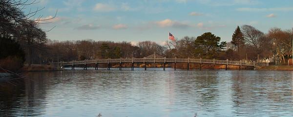Spring Lake Bridge & Flag Pano 12x30 DSCF9400