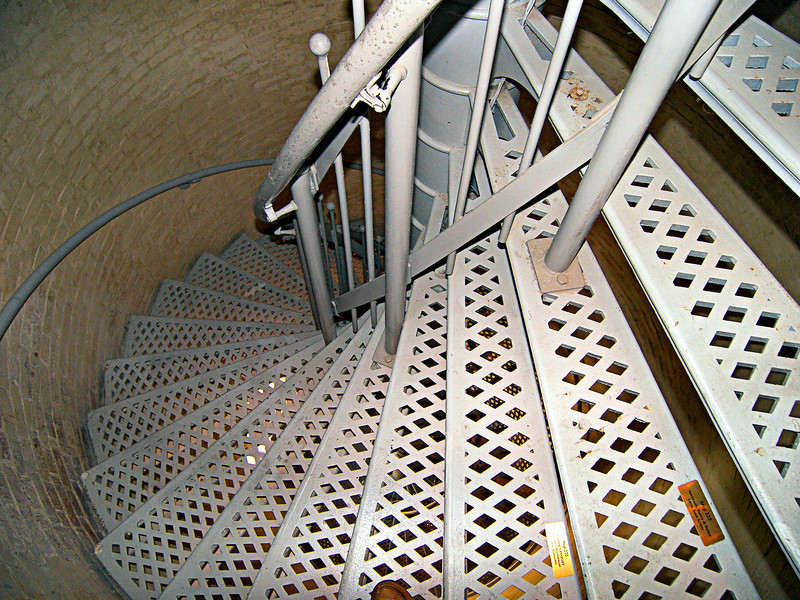 An iron spiral staircase of 228 steps leads to the lantern room.  The first lighting of the Absecon Light occurred on January 15, 1857 by Keeper Daniel Scull.