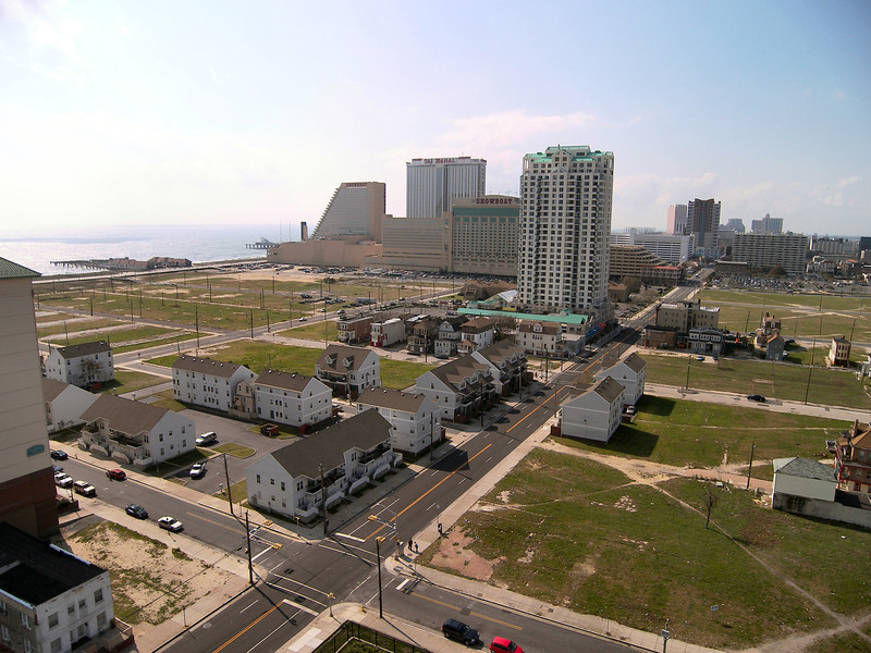 *A view of Atlantic City from the lantern of the Absecon Lighthouse*<br /> In the 1870's the shoreline experienced severe erosion and the sea came within 75 feet of the tower.  Jetties were constructed in an effort to retain the sand and stop the erosion.  They were so successful that the lighthouse eventually was several blocks from the shoreline and homes were built north of it.