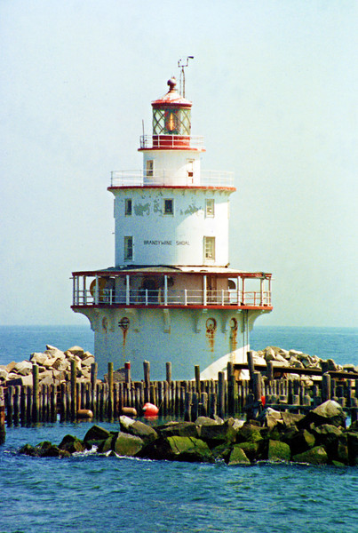 Congress appropriated $30,000 towards the project in 1847 and construction began in May 1848 under the supervision of Major Hartman Bache and his assistant Lt. George Meade.  Meade would later draw upon his experience at Brandywine Shoal in building pile lighthouses along the Florida reef.  A conical iron tower with a wooden interior was completed atop 9 iron piles in 1850.