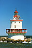 In 1851 the Brandywine Shoal Light lantern was fitted with a 3rd Order Fresnel lens making it the third lighthouse in the U.S. to receive such a lens after Navesink Light and Sankaty Light.  The newly formed Lighthouse Board installed the lens to conduct an experiment on the visibility of the Fresnel lens.  The new light outshone the coastal 1st Order lights at Cape Henlopen and Cape May proving the superiority of the Fresnel lens.  Shortly thereafter the Lighthouse Board embarked on a plan to install Fresnel lenses in all U.S. lighthouses.