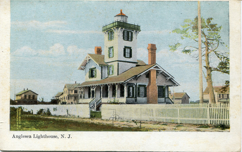 A postcard with a turn of the century view of the Hereford Inlet Lighthouse