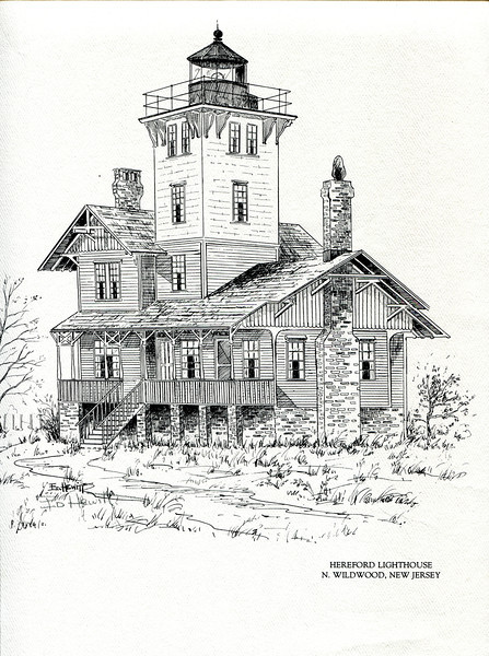 A pen and ink rendering of the Hereford Inlet Lighthouse drawn by Ed Hewitt.  Ed was the nephew of Keeper Freeling Hewitt and served as a volunteer at the lighthouse.  In the late 80's Ed & I sat on the back porch of the light sharing a coke on a hot summer day while he told me family stories about the lighthouse.