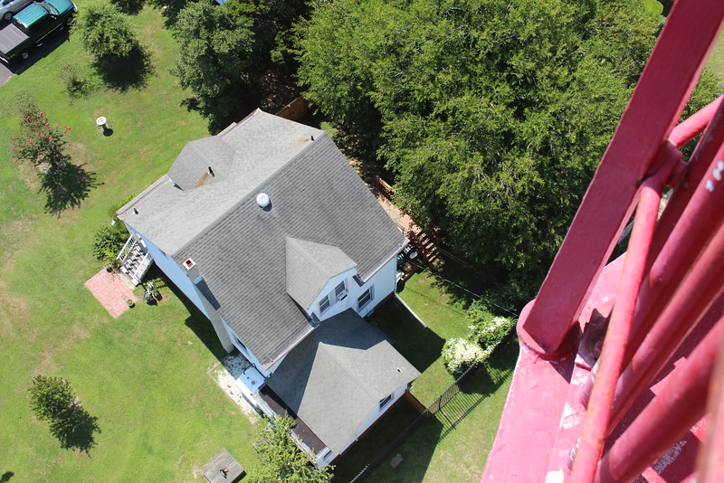 ** Keepers house from above **   During World War II the tower was darkened and in 1946 the decision was made to remove the Fresnel lens.  The lens was loaned to the Cape May County Historical Museum where it remains on display to the public.