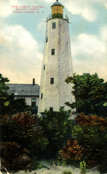 An old postcard view of the Sandy Hook Lighthouse