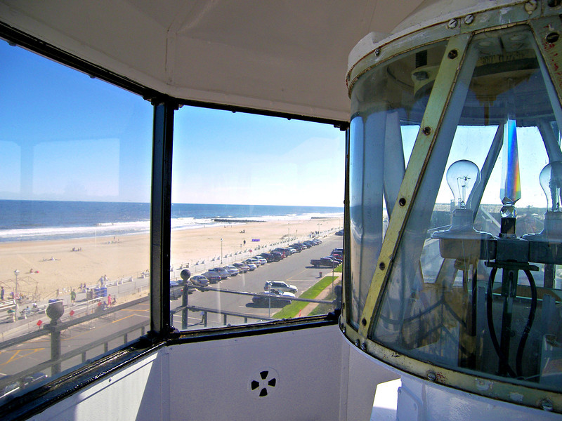 ***View from the lantern room ***  On July 28, 1910 John L. Hawkey arrived as Sea Girt's new Keeper with his wife Viola.  The 65 year old Hawkey had spent over 30 years as an engineer aboard lightships, but he decided to swallow the anchor and transfer to Sea Girt in his later years.  In late 1913 Hawkey played host to Lighthouse Service Commissioner George Putnam during a surprise visit.  The erosion problem continued and in 1915 almost $5,000 was spent to pound interlocking steel plates into the perimeter to secure the property.  Keeper Hawkey passed away on March 15, 1917 at the age of 71.