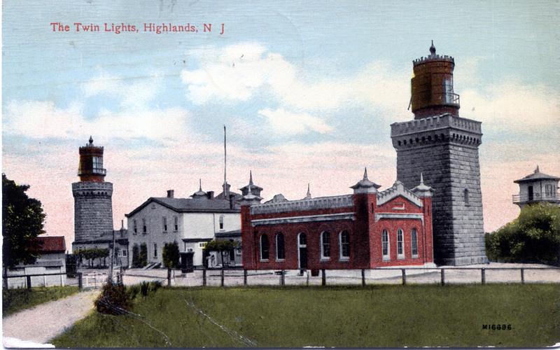 A turn of the century view of the Twin Lights of Navesink showing the generator building. Note how the rear windows of the lanterns have been blacked out. This was done so that the lights would not disturb the local residents.