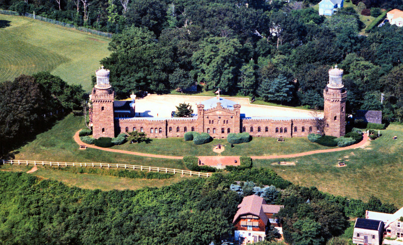 As time passed the 1828 towers and dwelling deteriorated. In June 1860 $73,000 was provided to rebuild the light station. Two unique fortress-like towers were built of brownstone and located 228 feet apart. The north tower was octagonal in shape while the south tower was square. A dwelling which housed the Keeper and 3 assistants and their respective families was built between the two towers.