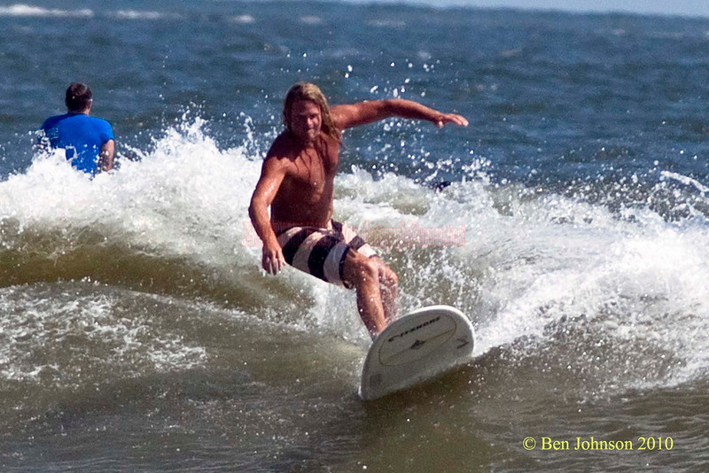 Surfers at the Ventnor Pier in Ventnor, New Jersey August 28, 2010