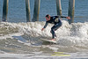 Surfers off Ventnor Pier in Ventnor New Jersey, September 13, 2013