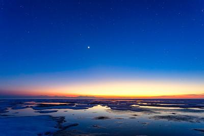 Sunset Antelope island at the Great Salt Lake