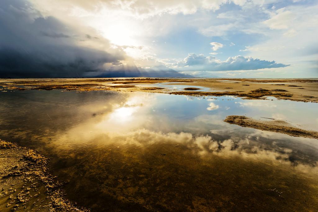 Storm moving across the Great Salt Lake, Utah
