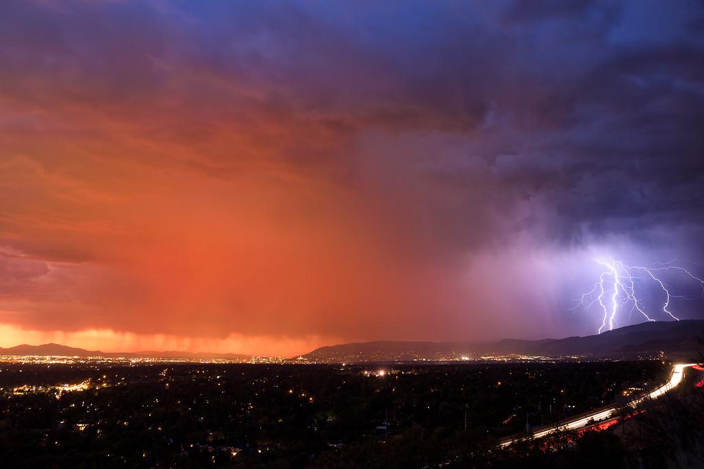 September 28th lighting behind Salt Lake City, Utah